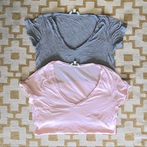NORDSTROM • deep v-neck tees • bundle of 2